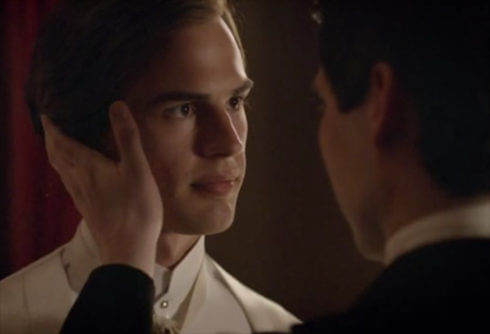 Thomas trying to kiss Mr. Pamuk on Downton Abbey