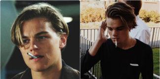 Leonardo DiCaprio and his young twin Konrad Annerud