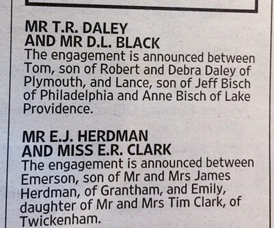 Tom Daley's Engagement Ad on The Times
