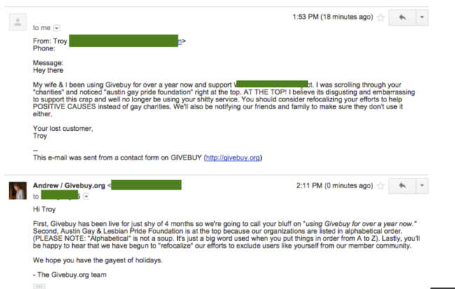 The homophobic e-mail exchange