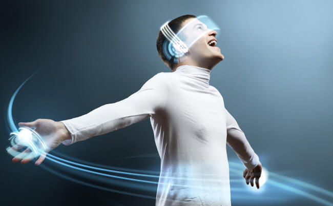Straight man uses virtual reality
