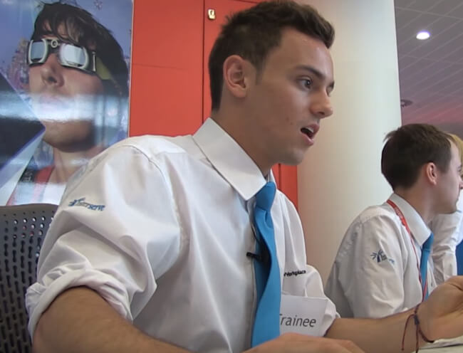 Tom Daley works reception at the BBC