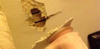 Hole in the wall because of dildo