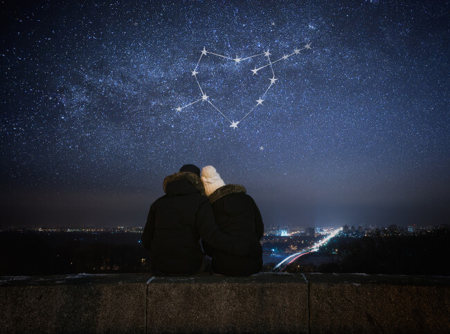 Couple looking at the sky