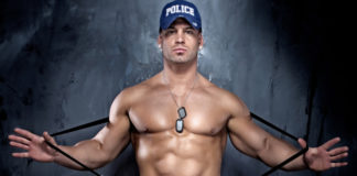 Hot male police officer cop