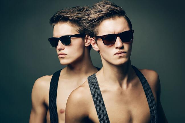 Shirtless men in sunglasses