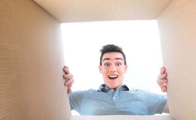 Man opening a box