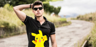 Man outside with Pikachu