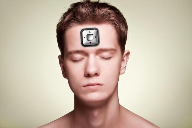 Mind control - man with a joystick
