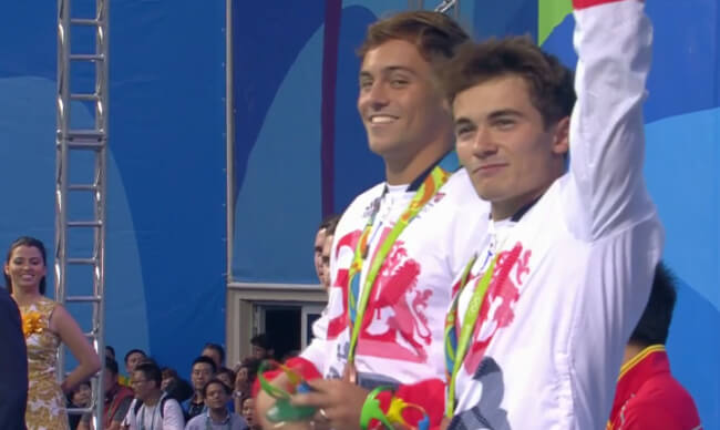 Tom and Daniel with the medal
