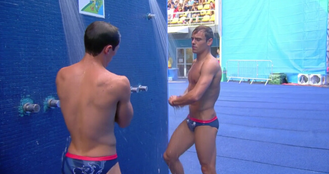 Tom at the olympic shower