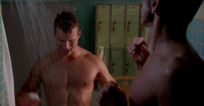 As Promised – John Stamos And Glen Powell Share A Nude Shower Scene