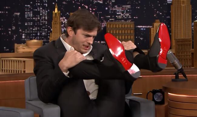 Ashton Kutcher rips his crotch