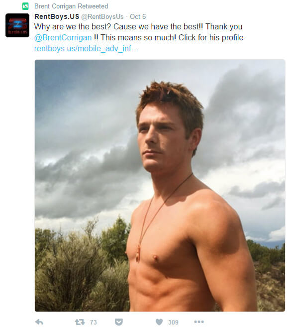 Brent Corrigan escort ad on Twitter