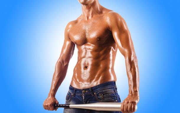 Man with a big baseball bat