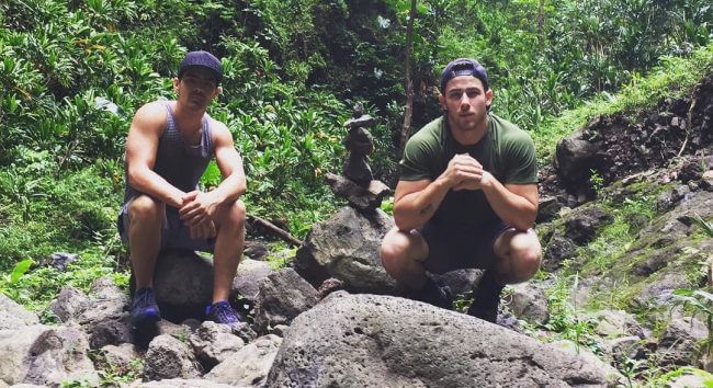 Nick Jonas and Joe Jonas hiking