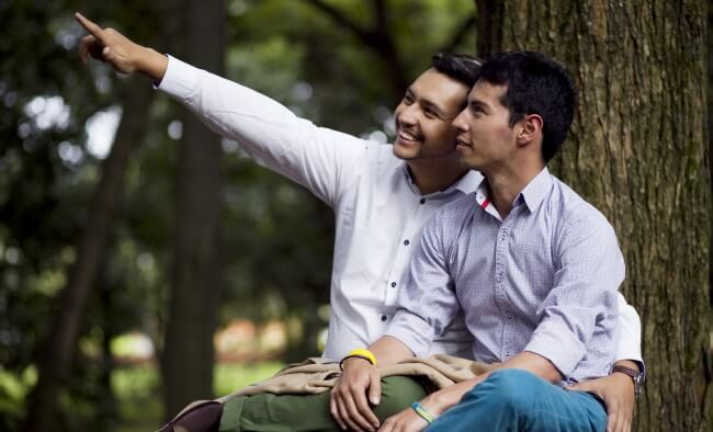 Two men in a park