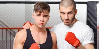 Young men training
