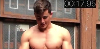 Pietro Boselli taking his shirt off