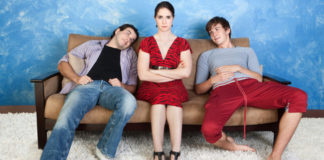 bisexual woman angry with two men