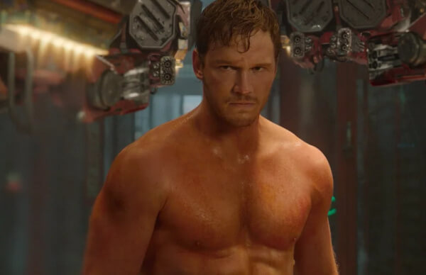 Chris Pratt as Star Lord on Guardians of the galaxy