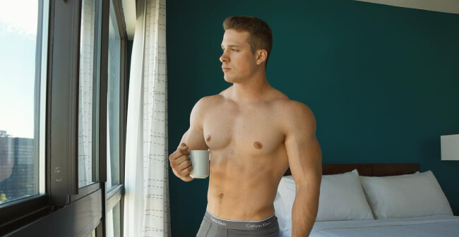 Nick Sandell in his underwear