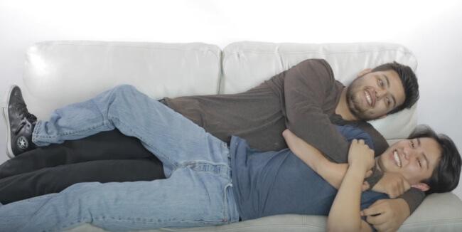 Straight guys cuddling
