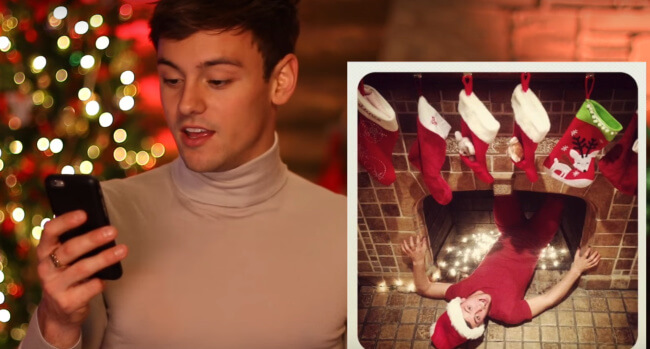 Tom Daley video of reacting to old Christmas photos