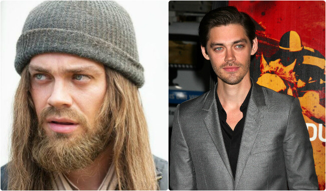 Tom Payne - before and after the beard
