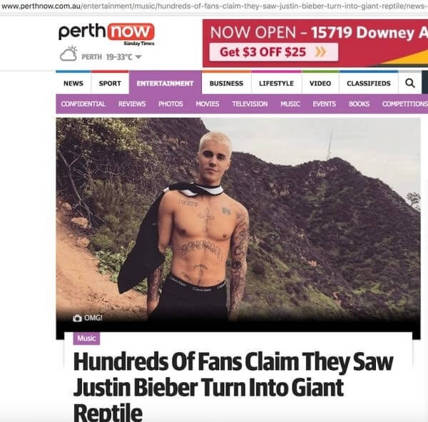 Bieber lizard news
