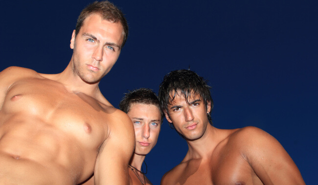 Three shirtless guys