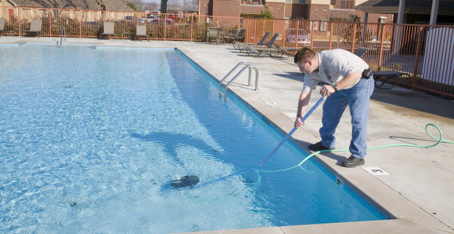 cleaning the pool