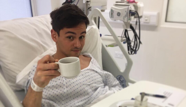Tom Daley in the hospital