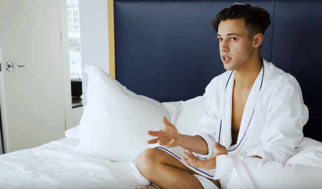 Cameron Dallas in bathrobe
