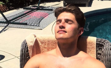 Gregg Sulkin shirtless by the pool