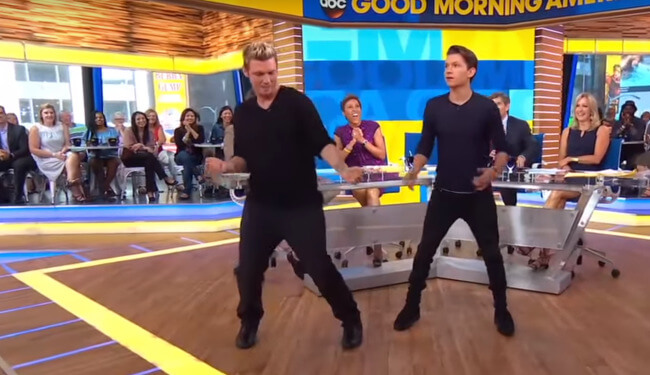 Tom Holland Nick Carter dancing