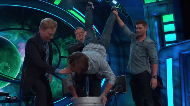 Jared Padalecki keg stand on Conan