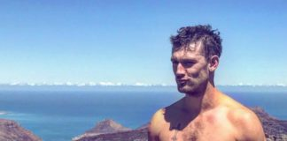 Alex Pettyfer hiking abs