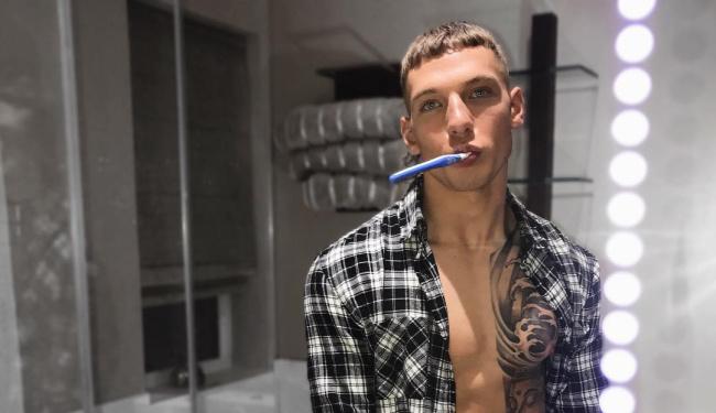 Brandon Myers brushing teeth