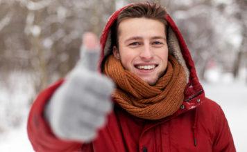 Man winter thumbs up