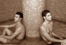 Two men in spa