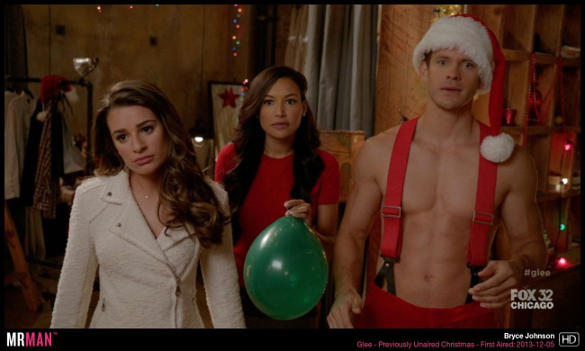 Bryce Johnson shirtless santa glee