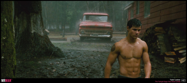 Taylor Lautner shirtless wet