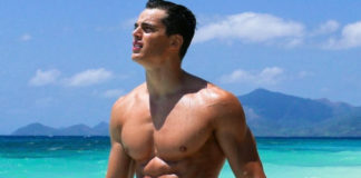 Pietro Boselli naked on the beach