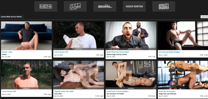 Page d'accueil de l'accès masculin
