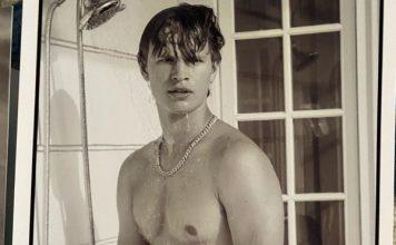 Ansel Elgort naked in shower