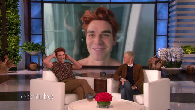 KJ Apa naked on Ellen