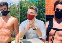 men in masks collage