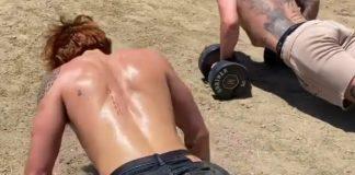 KJ Apa workout in the sun
